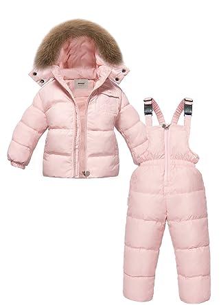 6cb77855f ZOEREA Unisex Boys Girls Winter Snowsuit Down Ski Pants Puffer Jacket  Hoodie 2 Piece Clothing Pink: Amazon.co.uk: Clothing