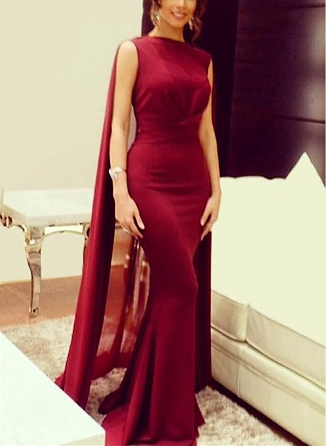 Amazon.com: Gotidy Red Evening Dresses with Cape Mermaid Formal ...
