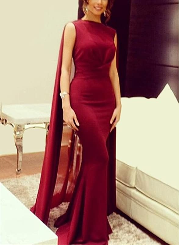Amazon.com: Gotidy Red Evening Dresses with Cape Mermaid Formal Gowns GO107: Clothing