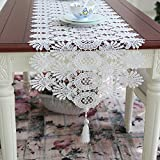 European-style lace openwork table table runner/Coffee table flag/Simple white Princess decorated long table runner-A 40x150cm(16x59inch)