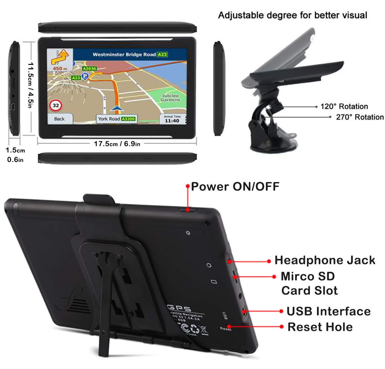8G 256M GPS Navigation System with Postcodes Speed Camera Alerts POI Lane Assistance 7 Inch Touchscreen Sat Nav for Car Truck Preinstalled FREE Lifetime Updates Latest Maps for Europe 48 Countries
