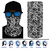 12 in 1 Multifunction Headband, 95% UV Protection Headscarf for Women, Men, Kids for Runing, Yoga, Hiking, Travel Seamless Bandana Scarf UPF 30, White Paisley