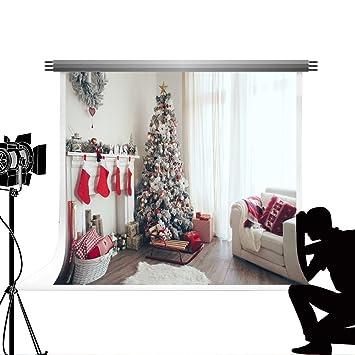 Blanco árbol de Navidad fotografía telón de fondo decoración para el hogar portátil algodón calcetines de Navidad chimenea accesorios fondo Photocall Kate 3 ...