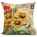 "FreshZone Vintage Square Home Decorative Throw Pillow Case Cushion Cover 18 ""X18"" (Vintage Sunflower)"
