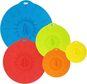allydrew Reusable Silicone Suction Bowl Lids, Food Storage Covers for Bowls, Pots, Pans, Mugs (Set of 5)