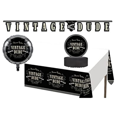 Vintage Dude Party Decorations Supply Pack! Bundle Includes Jointed Banner, Centerpiece, Balloon and Table Cover: Health & Personal Care