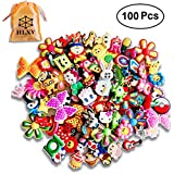 HLXY Shoe Charms 100 Pcs Different Shape for Jibbitz Croc Shoes and Backpack & Bracelet Wristband Gifts