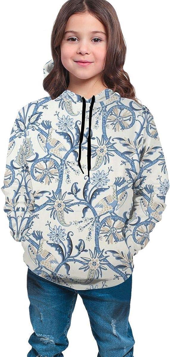 Kjiurhfyheuij Teen Pullover Hoodies with Pocket Peacock Garden Soft Fleece Hooded Sweatshirt for Youth Teens Kids Boys Girls