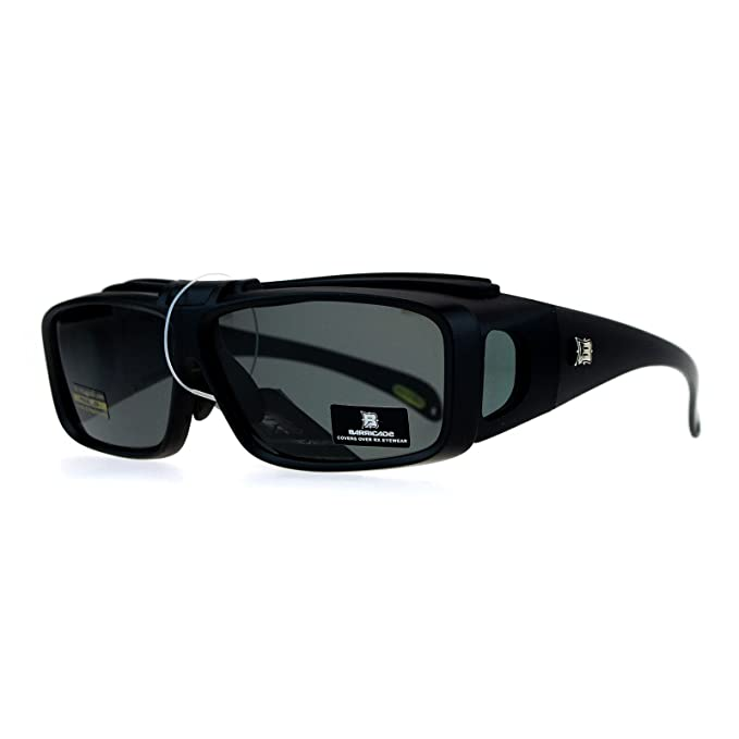 79ba0d2d75df0 SA106 Mens Polarized Lens Flip Up 60mm Fit Over OTG Sunglasses Matte Black