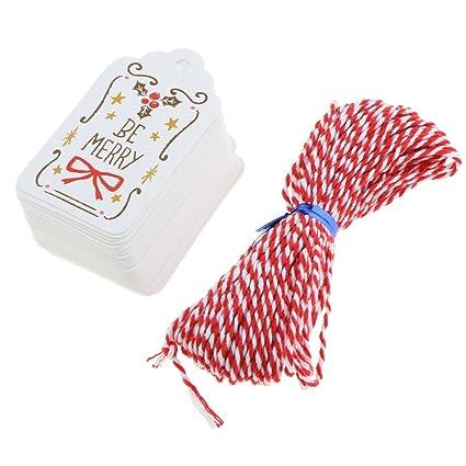 Santa MonkeyJack 50//set Vintage White Kraft Paper Christmas Hanging Tags Gift Tags Ornaments