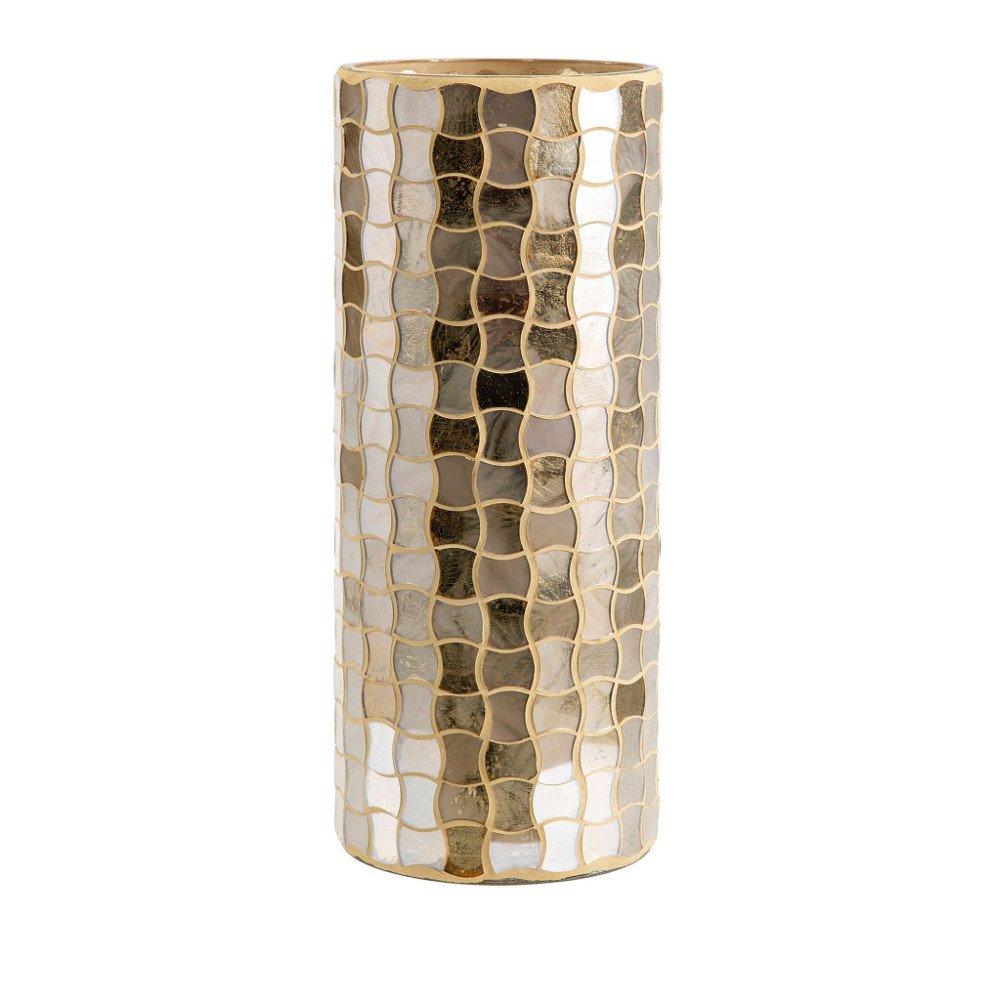 Benzara Christmas Large Glass Mosaic Hurricane-Gold Candleholder