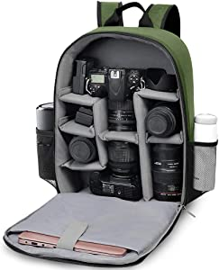 """CADeN DSLR camera backpack - Capacity can accommodate 2 cameras 3 lenses 1 tripod 15.6"""" laptop and other photography accessories compart can be adjusted freely compatible with Canon Nikon Sony (Green)"""