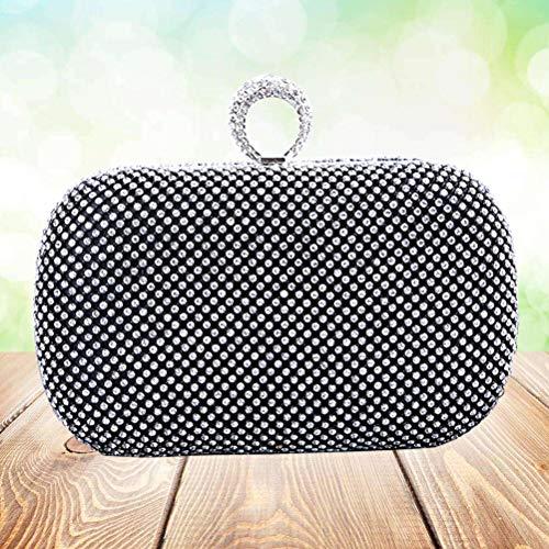 sera tendiacco per diamanti portafoglio imitazione Mini a barretta stile mano da con anello Borsa nero in in a donna 41CqHwxC5n