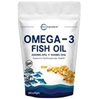Triple Strength Omega-3 Fish Oil Supplement (Fish Oil Burpless), 3750mg Per Serving, 300 Softgels, EPA 2000mg & DHA 1500mg, Supports Cardiovascular Function & Immune System, Premium, Non-GMO