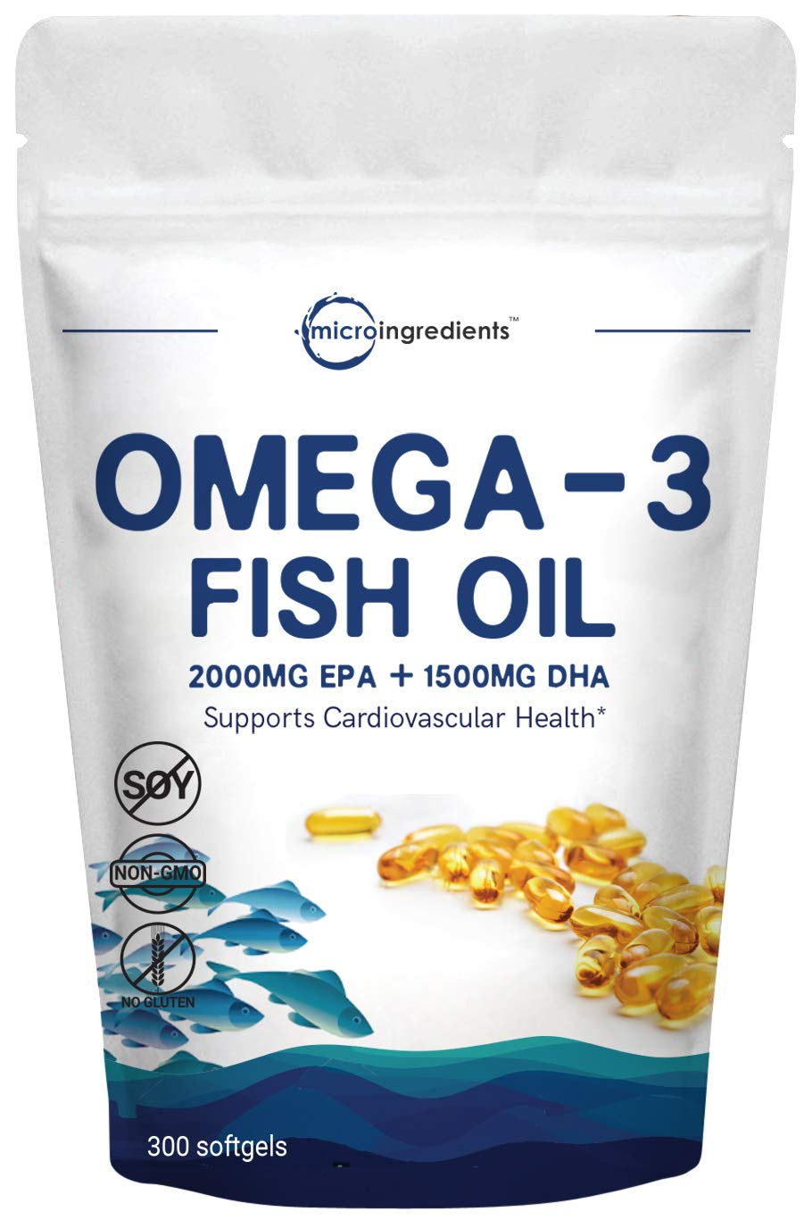 Triple Strength Omega 3 Fish Oil Supplement, 3750mg Per Serving, 300 Softgels, EPA 2000mg, DHA 1500mg, Strongly Supports Cognitive Health and Cardiovascular Function, No GMOs and Made in USA