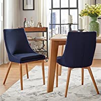 Sasha Oak Barrel Back Side Dining Chair (Set of 2) - Twilight Blue