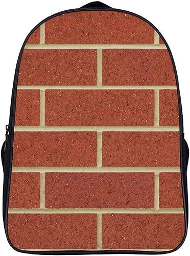 Double Compartment Backpack Brickwork Brick Wall Orange Line Pattern Close-up Design Bricklayer 15.7 x11.02 x6.3 Shoulder Travel Bag