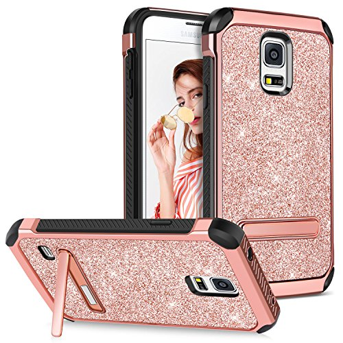 e with Kickstand Girls Women Glitter Bling Ultra Slim Dual Layer Hybrid Hard PC Cover Soft Bumper Shockproof Protective Phone Case for Samsung Galaxy S5 S V I9600 GS5,Rose Gold ()