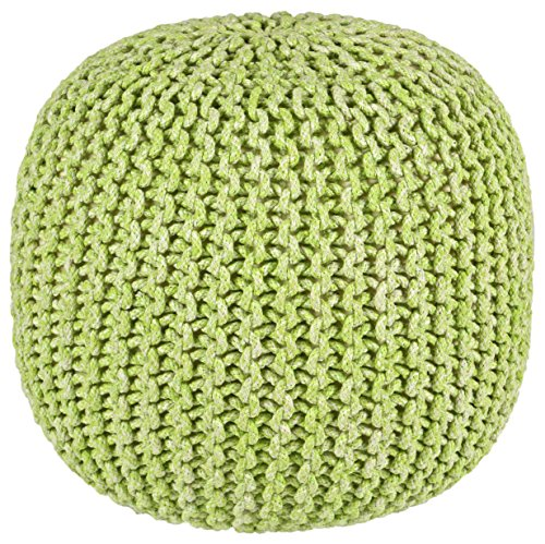 Pouf Ottoman 2-Tone Cotton Rope, Green, 16-Inch (Furniture St Croix)