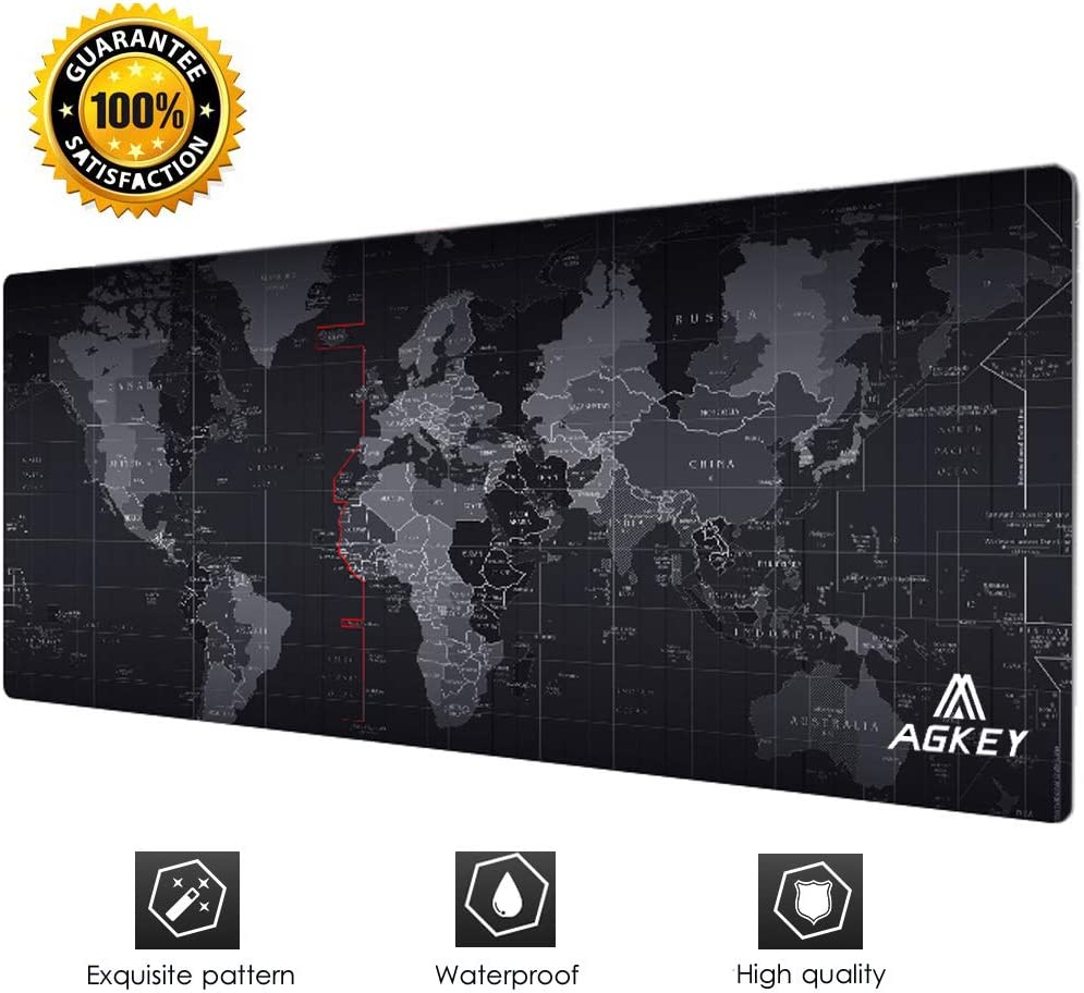 Large Gaming Mouse Pad Extended Mousepad Mouse Pat with Durable Stitched Edges Game Mouse Mat Ideal for Desk Cover, Computer Keyboard, PC and Laptop (30.7x11.8x0.12IN) (World Map)
