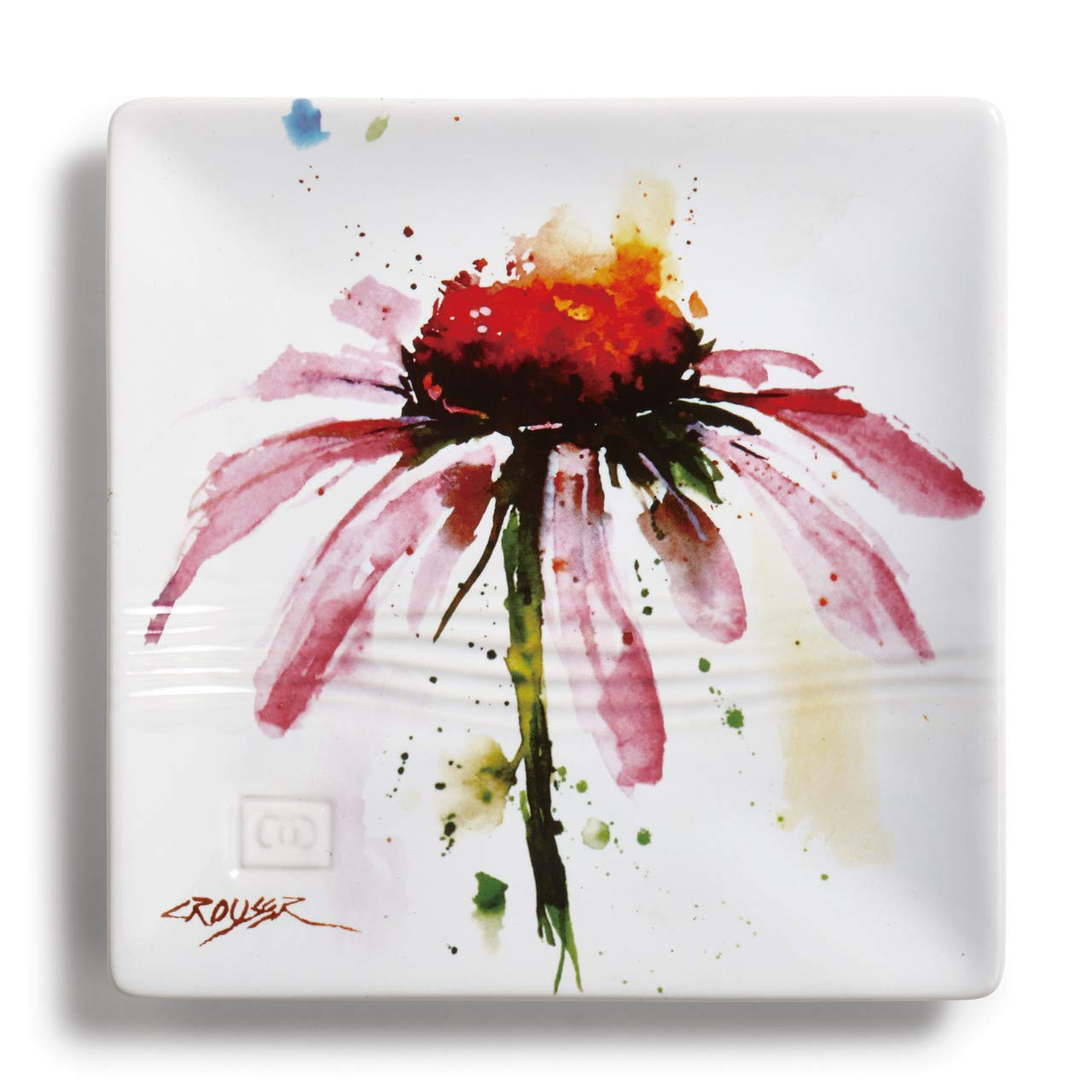 Echinacea Herbal Floral Watercolor Red 7 x 7 Ceramic Stoneware Snack Plate Demdaco