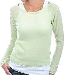 5be439a4e923a4 Balldiri 100% Cashmere Kaschmir Damen Pullover Rundhals 2-fädig helles grün
