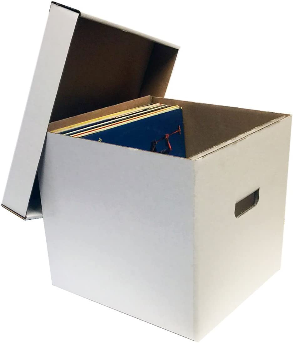 "12/"" Record Album Storage Box with Removable Lid Holds Up to 65 Vinyl Records 5"