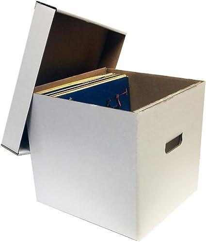 1) 12 álbum Record caja de almacenaje con tapa extraíble – capacidad para hasta 65 discos de vinilo por Max protección: Amazon.es: Oficina y papelería