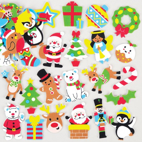 Christmas Foam Stickers Creative Xmas Art Supplies for Christmas Decorations/Card Making (Pack of 120)