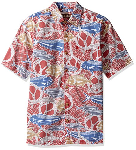Kahala Men's Fish Net Relaxed Fit Hawaiian Shirt, Red, - Hawaii Kahala Map
