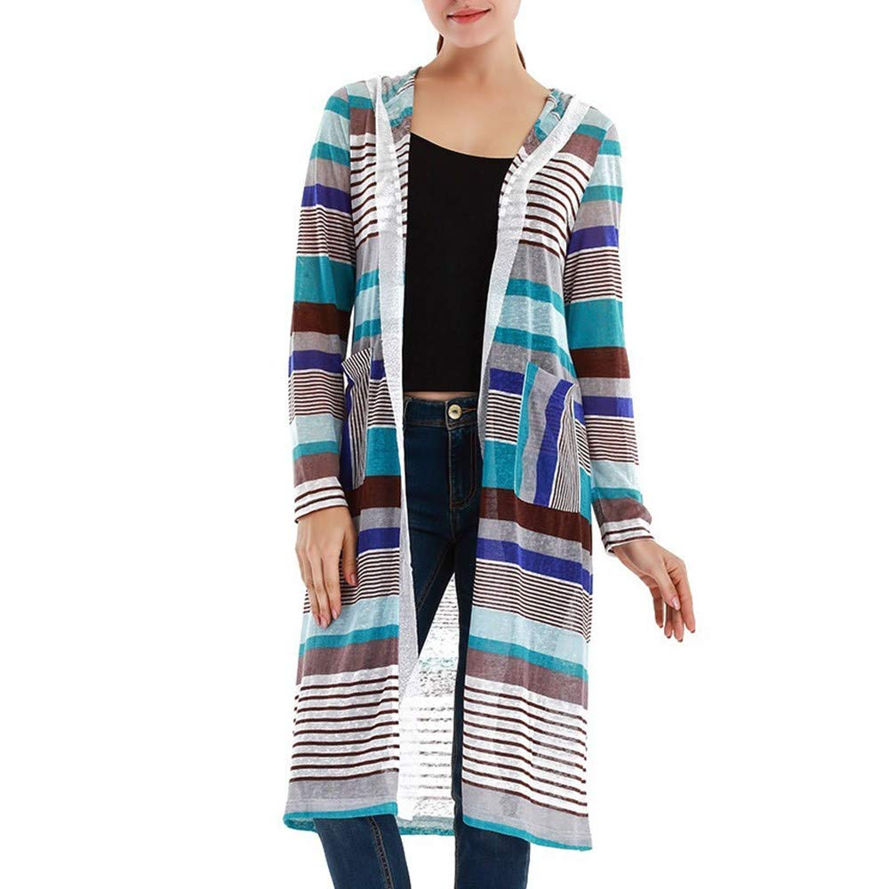 VIASAWoman Fashion Sexy Casual Regularly Sweet Stripe A Long-Sleeved Hooded Jacket (S, Blue)