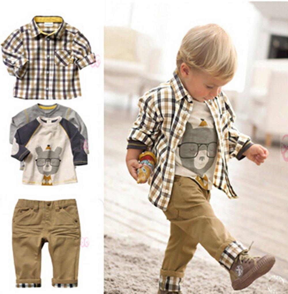 SOPO Toddler Boys Casual 3 Piece Set (T-shirt + Plaid Shirt + Khaki Pants) 1-2y China