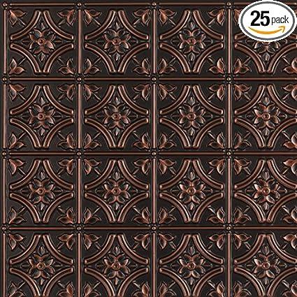gothic reims faux tin ceiling tile antique copper 25 pack - Faux Tin Ceiling Tiles