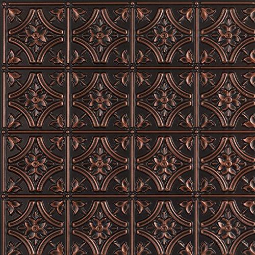 Gothic Reims-Faux Tin Ceiling Tile - Antique Copper 25-Pack