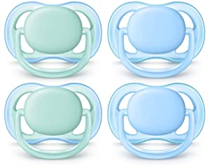 Philips AVENT Ultra Air Pacifier, 0-6 Months, Blue/Green, 4 Pack, SCF244/40
