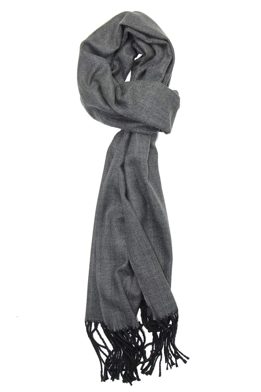 Achillea Men's Cashmere Feel Tartan Plaid Checked Winter Warm Scarf (Ash Grey Herringbone 2)