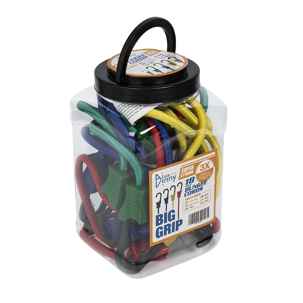 """18 PC Heavy Duty Bungee Cord Jar – Contains 10"""", 18"""", 24"""", 36"""", 48"""" Cords and 2 Steel Rings With Plastic Coated Steel Hooks Ties Down Tarps For Extreme Strength(176 to 220lb), 50/50 Latex & Rubber"""