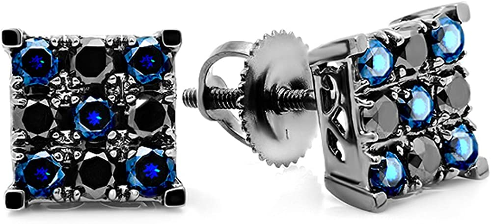 Dazzlingrock Collection - Pendientes de tuerca para hombre, diseño de zafiro negro redondo y zafiro azul, chapado en rodio negro, oro blanco de 14 quilates