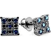 18 ct White Gold Round Black Diamond & Blue Sapphire Men's Square Shaped Stud Earrings