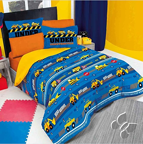 NEW FANTASTIC COLLECTION TRUCK UNDER CONSTRUCTION KIDS BOYS COMFORTER SET AND SHEET SET 5 PCS TWIN (Under Construction Sheet Set)