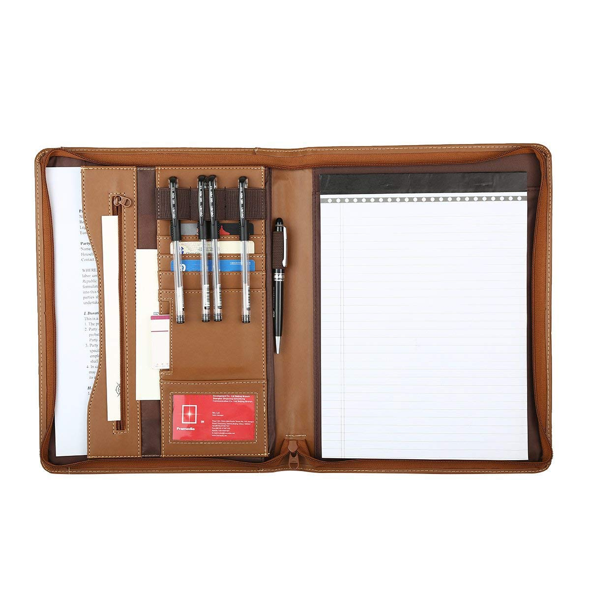 Leathario File Folder Padfolio Writing Pad Business Presentation Folder Portfolio (Brown-A4-1)