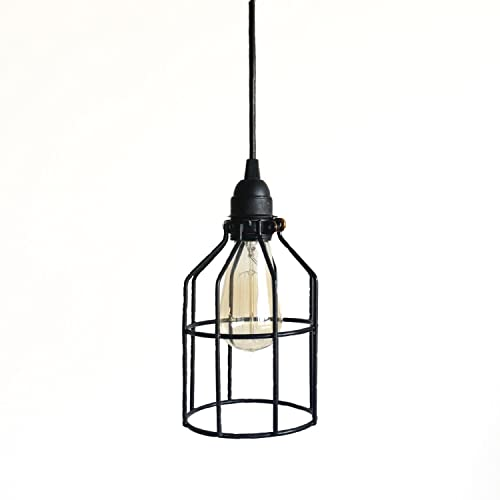 drop lights for kitchen island island pendant black cage pendant industrial lighting kitchen island bar drop light metal light guard hanging amazoncom