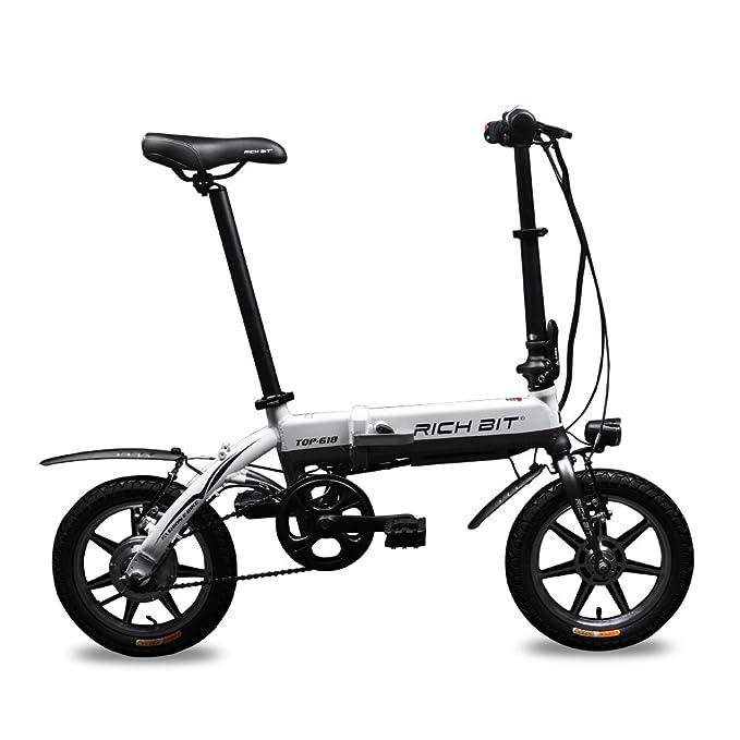Richbit RT-618 de 2016, 14 blanco Mini Bicicleta eléctrica plegable para bicicleta 250W *e-vélo freno 36 V: Amazon.es: Deportes y aire libre