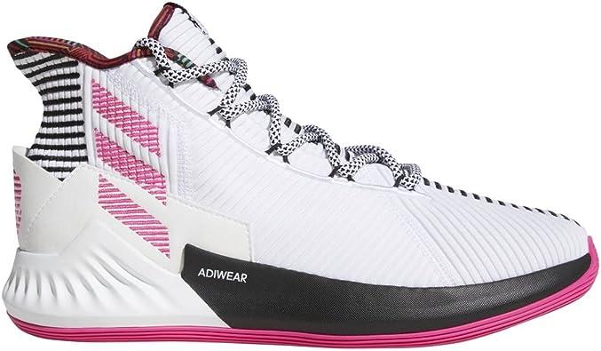 Chaussures Adidas D Rose 9 Hommes Blanc Rose Noir