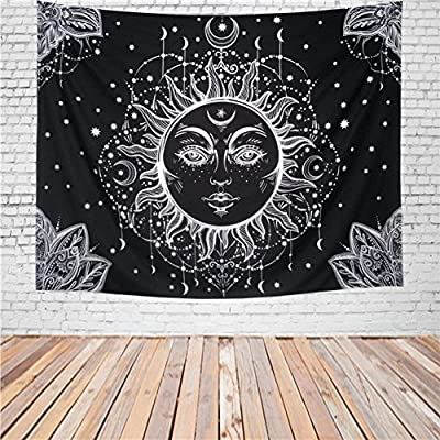 Racunbula Black and White Tapestry Wall Hanging Hippie Mandala Bohemian Flower Psychedelic Tapestry Table Covers Collage Bedsheet Wall Art Tapestries for Bedroom Dorm Decor