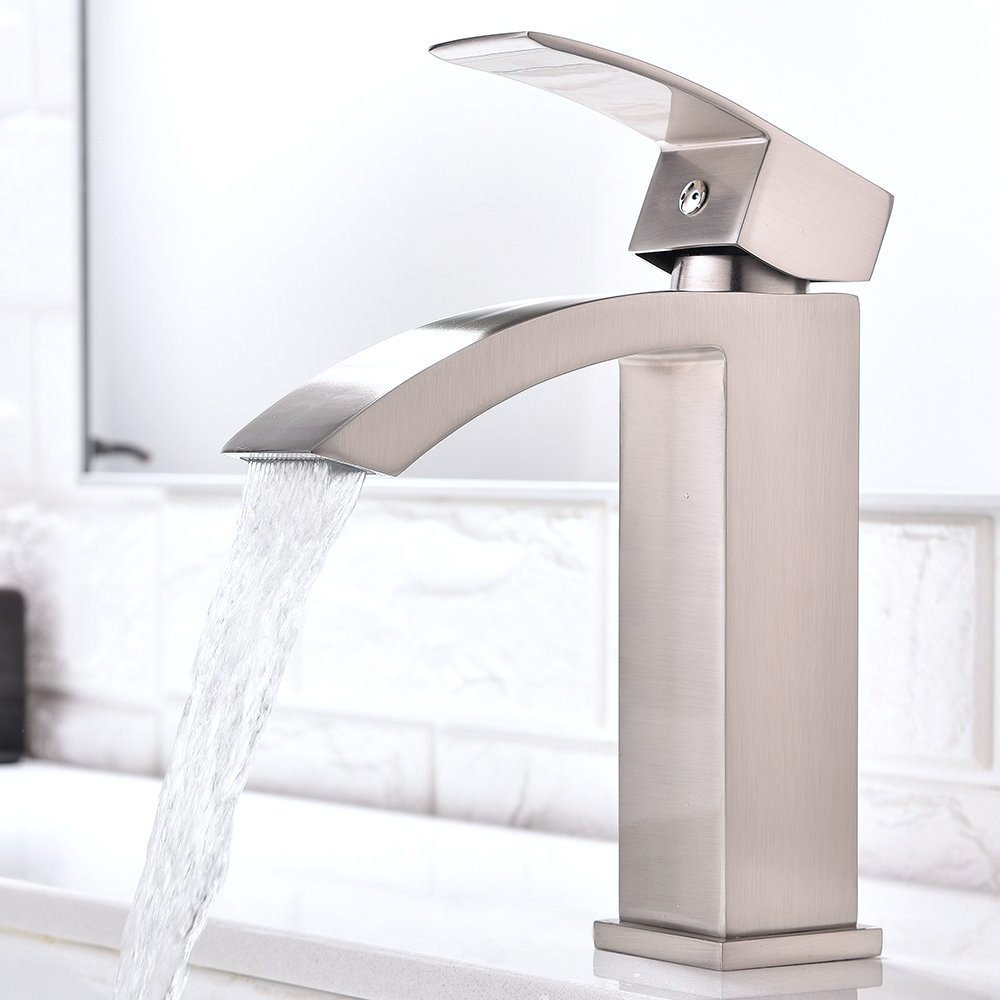 Friho Single Handle Waterfall Bathroom Vanity Sink Faucet with Extra Large Rectangular Spout, Brushed Nickel by Friho