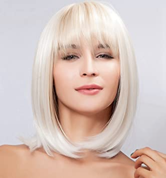 Diy Wig Halloween Cosplay Silver White Shoulder Length Bob Wigs For WomenGril