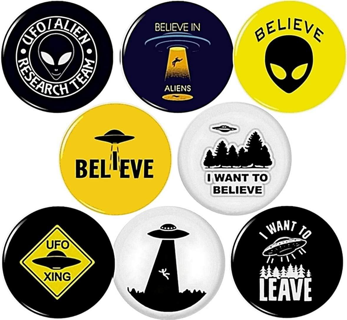 Panic Buttons UFO 8 New Button pin Badges Alien Extraterrestrial I Want to Believe Leave xing