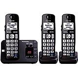 Panasonic KX-TGE233B DECT 6.0 Plus Technology (1.9GHz) Wall Mountable Range Extender Compatible Expandable Cordless Digital Phone with Large Keypad - 3 Handsets,Black