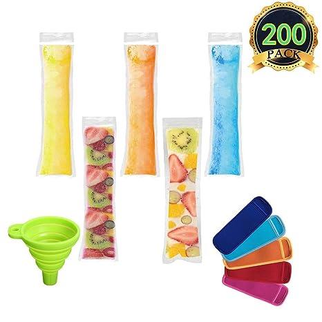 AUTOPkio 200 piezas Bolsas para helados de paletas de hielo con 1 pz De embudo y 5 piezas Mangas para helados de yogur, hielo o paletas congeladas, 22 ...